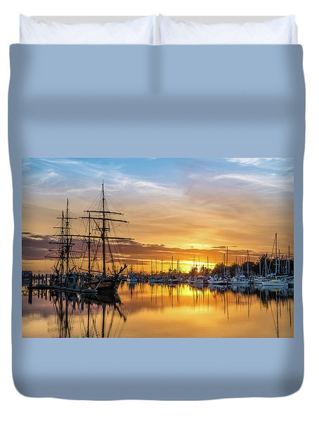 Tall Ships Sunset 1 Duvet Cover
