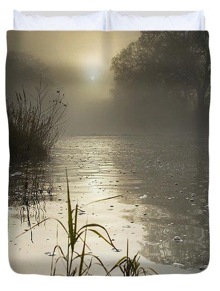 Tamar River Winter  Sunrise, Uk Duvet Cover