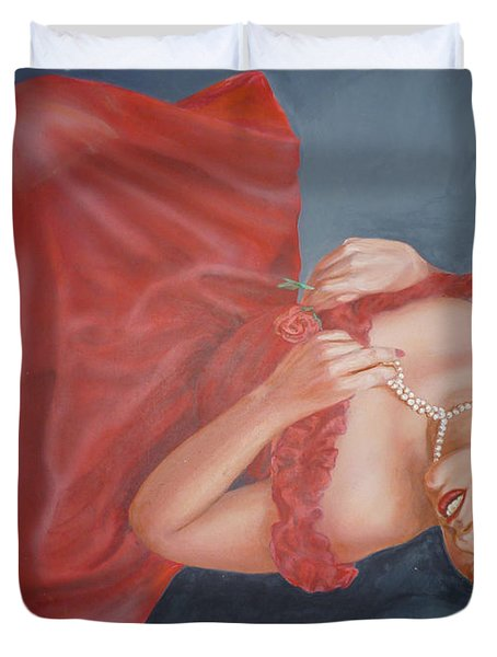 Duvet Cover featuring the painting Tammy by Bryan Bustard