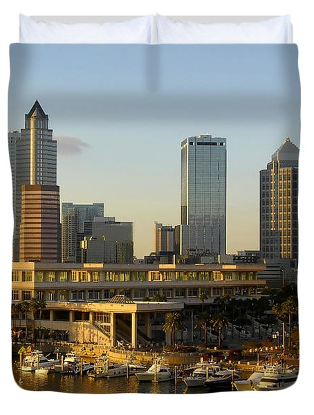 Tampa Bay And Gasparilla Duvet Cover by David Lee Thompson