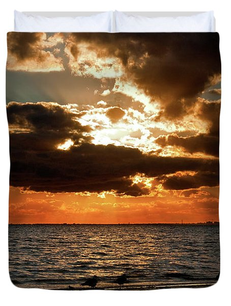 Tampa Bay Sunset Duvet Cover by Christopher Holmes
