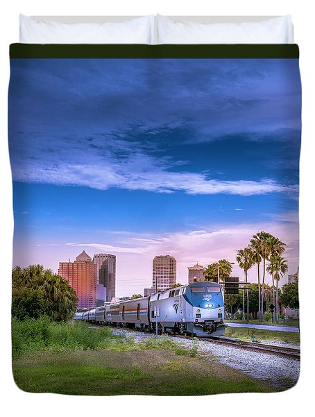 Duvet Cover featuring the photograph Tampa Departure by Marvin Spates