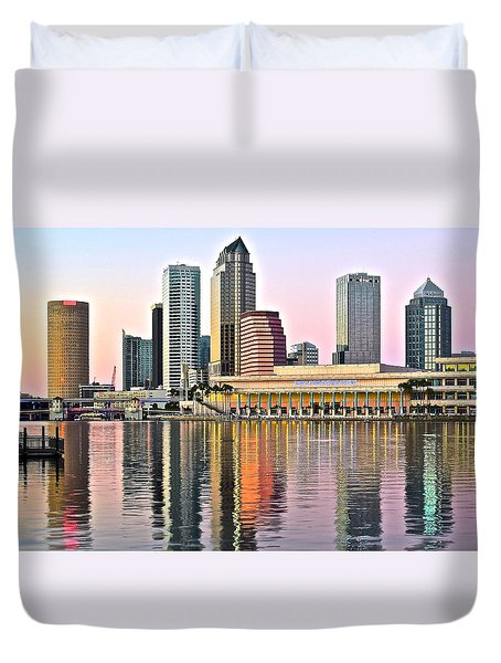 Tampa In Vivid Color Duvet Cover by Frozen in Time Fine Art Photography