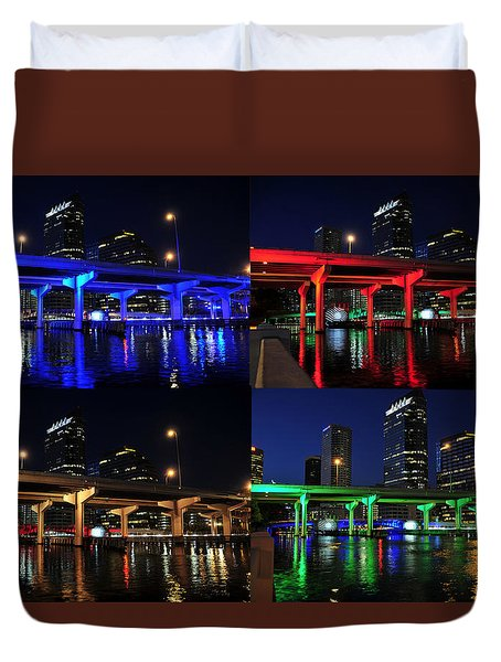 Duvet Cover featuring the photograph Tampa's Colorful Bridges by David Lee Thompson