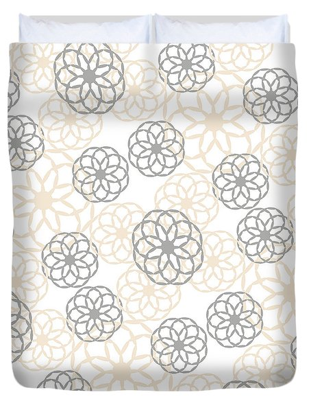 Tan And Silver Floral Pattern Duvet Cover