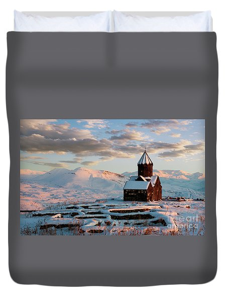Tanahat Monastery At Sunset In Winter, Armenia Duvet Cover