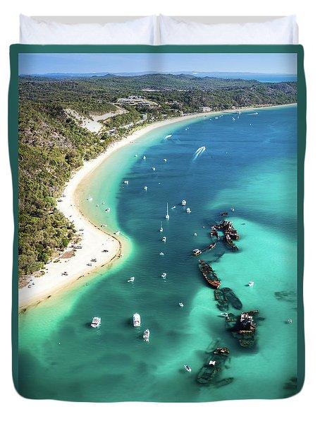 Tangalooma Wrecks Duvet Cover by Peta Thames
