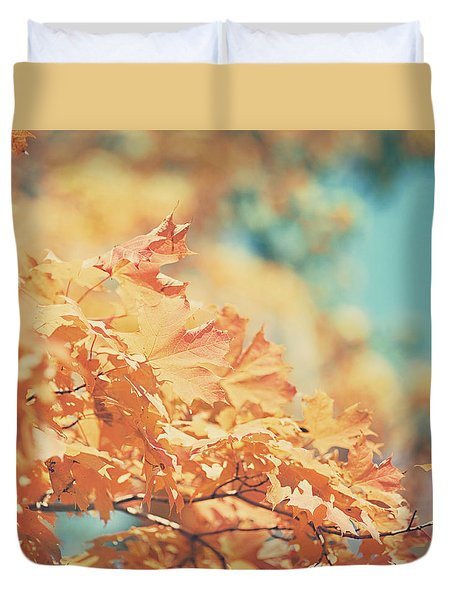 Tangerine Leaves And Turquoise Skies Duvet Cover by Lisa Russo