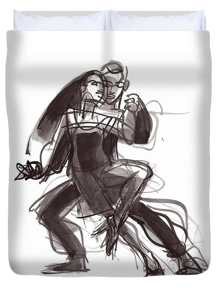 Duvet Cover featuring the painting Tango #35 by Judith Kunzle