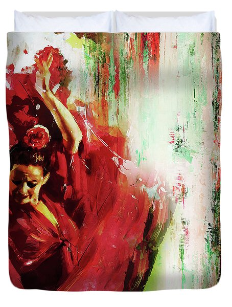 Duvet Cover featuring the painting Tango Dance 45g by Gull G