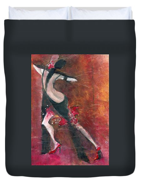 Duvet Cover featuring the painting Tango by Maya Manolova