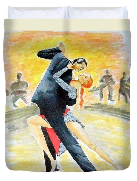 Tango Tangle -- Portrait Of 2 Tango Dancers Duvet Cover