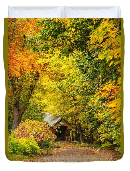 Tannery Hill Covered Bridge Duvet Cover by Robert Clifford