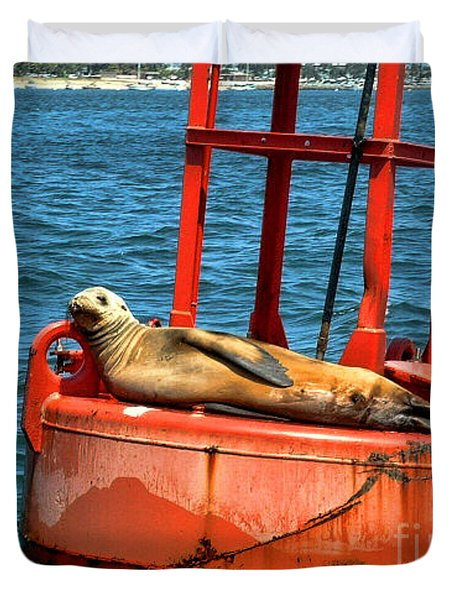 Duvet Cover featuring the photograph Tanning Sea Lion On Buoy by Mariola Bitner