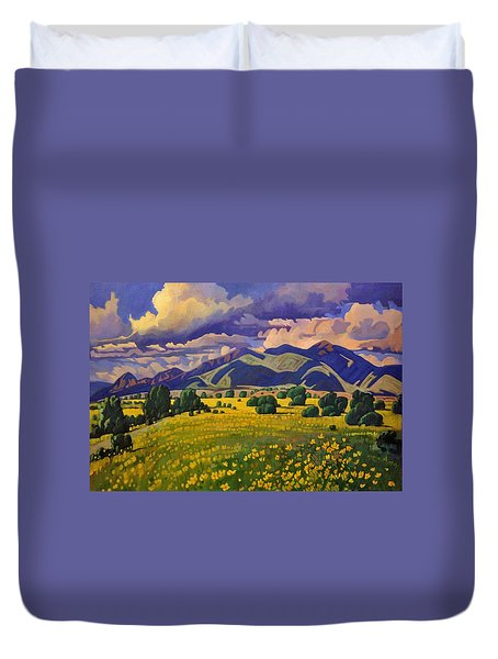 Duvet Cover featuring the painting Taos Fields Of Yellow by Art West