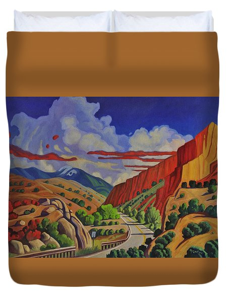 Duvet Cover featuring the painting Taos Gorge Journey by Art West