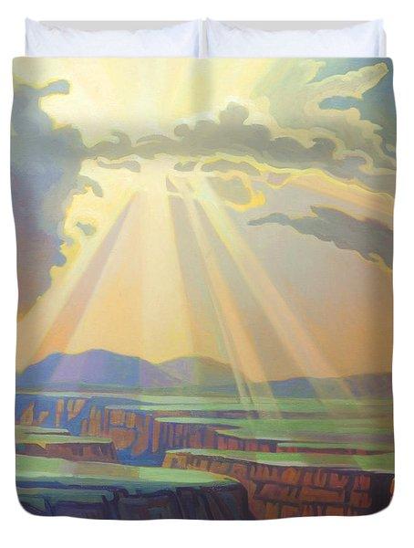 Taos Gorge God Rays Duvet Cover