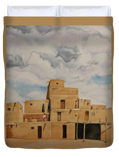 Taos Pueblo 1990 Duvet Cover by Michele Myers