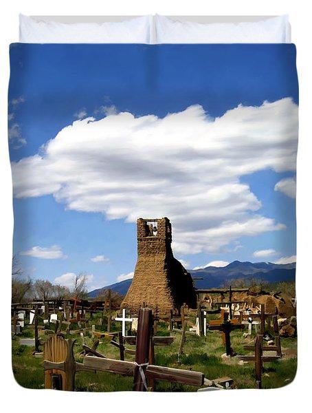 Taos Pueblo Cemetery Duvet Cover by Kurt Van Wagner