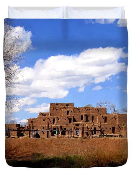 Taos Pueblo Early Spring Duvet Cover by Kurt Van Wagner