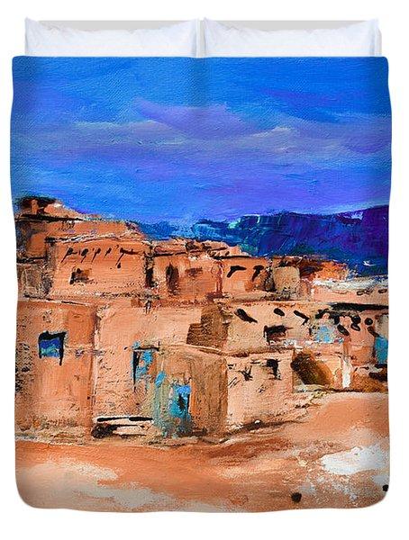 Taos Pueblo Village Duvet Cover