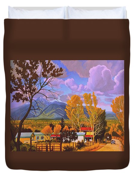 Duvet Cover featuring the painting Taos Red Roofs by Art West