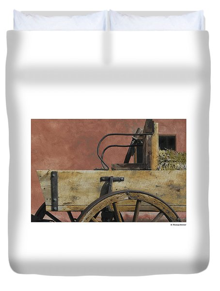 Duvet Cover featuring the photograph Taos Wagon by R Thomas Berner