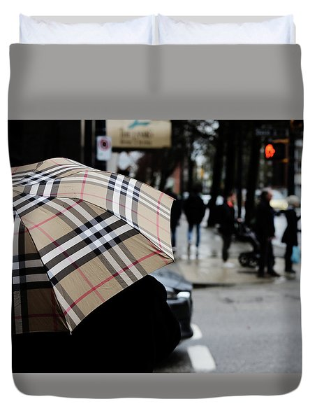 Tap Me On The Shoulder  Duvet Cover by Empty Wall