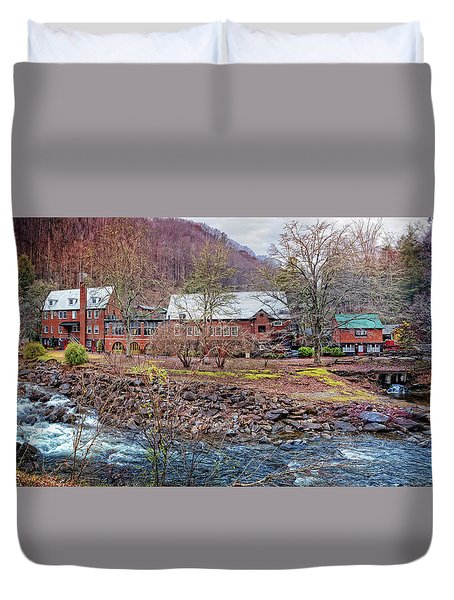 Duvet Cover featuring the photograph Tapoco Lodge by Debra and Dave Vanderlaan