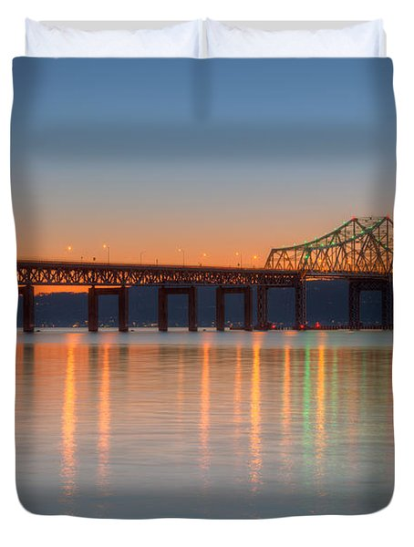 Tappan Zee Bridge After Sunset II Duvet Cover by Clarence Holmes
