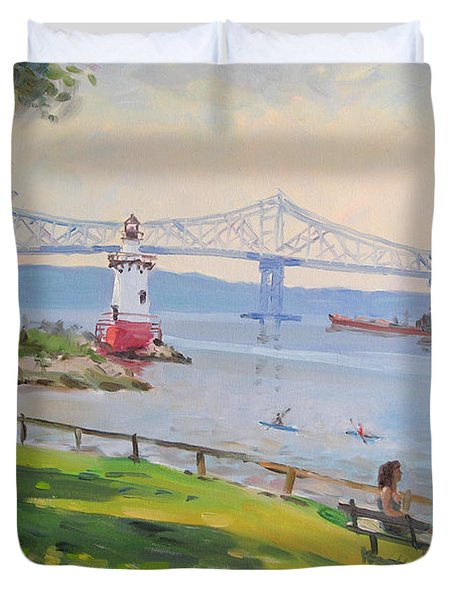 Tappan Zee Bridge And Light House Duvet Cover