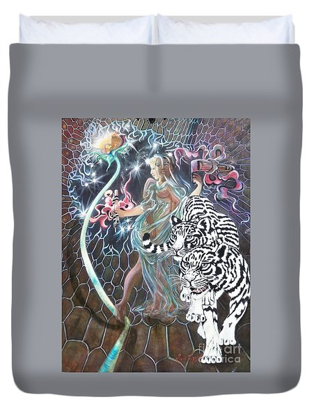 Duvet Cover featuring the painting Tapping The Lifeline by Sigrid Tune