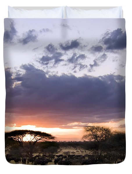 Tarangire Sunset Duvet Cover by Adam Romanowicz