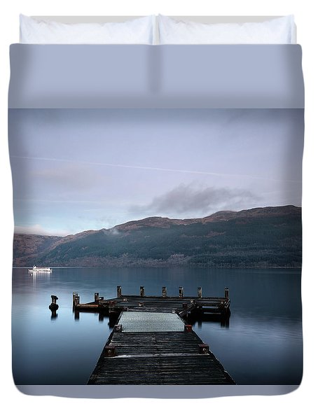 Duvet Cover featuring the photograph Tarbet Twilight by Grant Glendinning