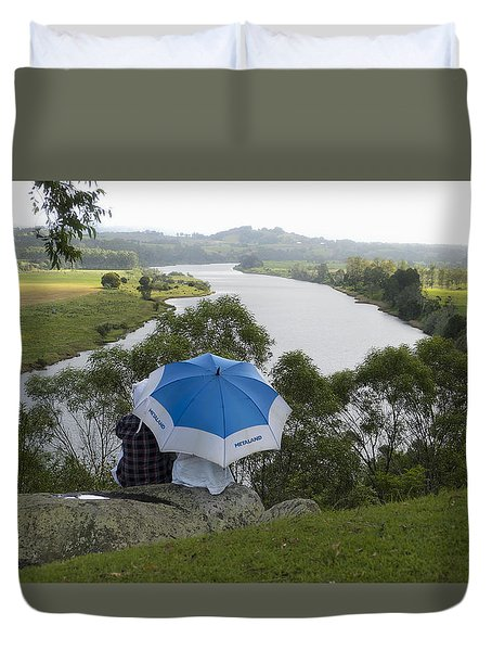 Duvet Cover featuring the photograph Taree West Lookout 01 by Kevin Chippindall