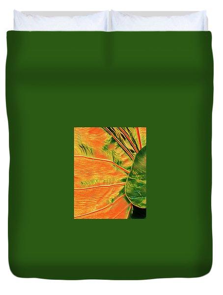 Taro Leaf In Orange - The Other Side Duvet Cover
