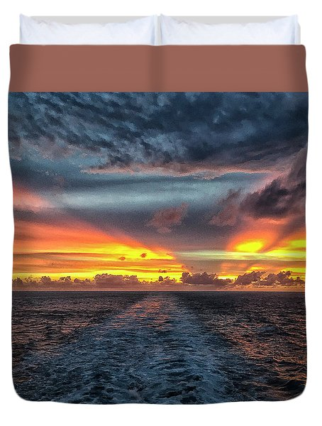 Tasman Sea Sunset Duvet Cover