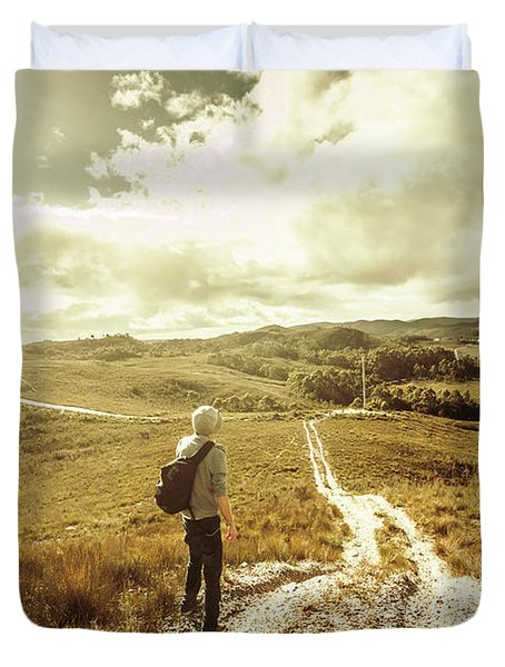 Tasmanian Man On Road In Nature Reserve Duvet Cover