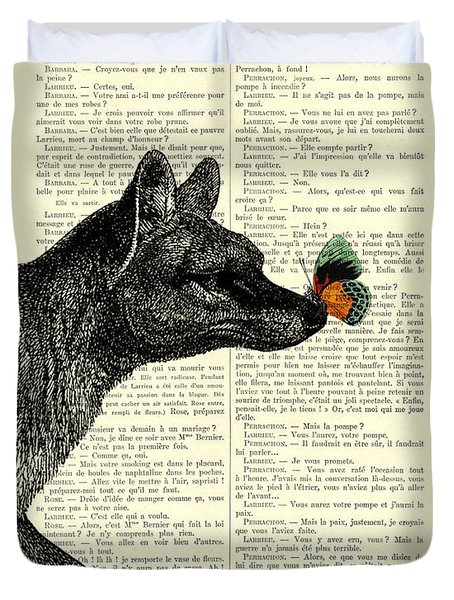 Tasmanian Tiger And Orange Butterfly Antique Illustration On Dictionary Page Duvet Cover