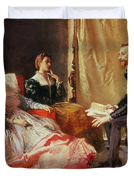 Tasso And Elenora Duvet Cover by Domenico Morelli