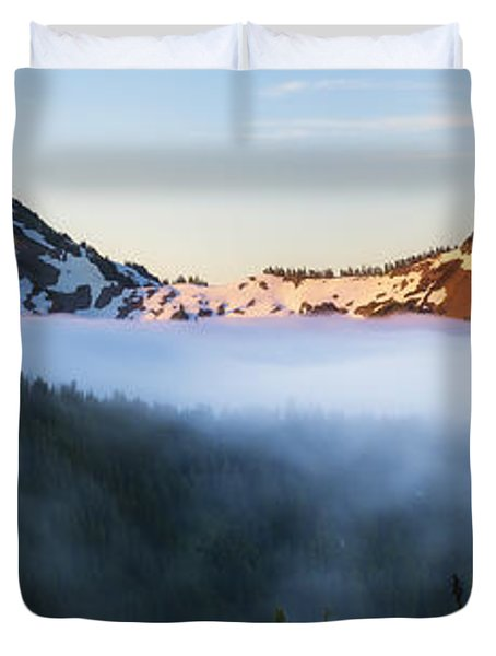 Tatoosh Panorama Duvet Cover by Ryan Manuel