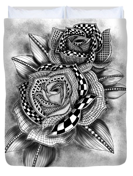 Tattoo Rose Greyscale Duvet Cover