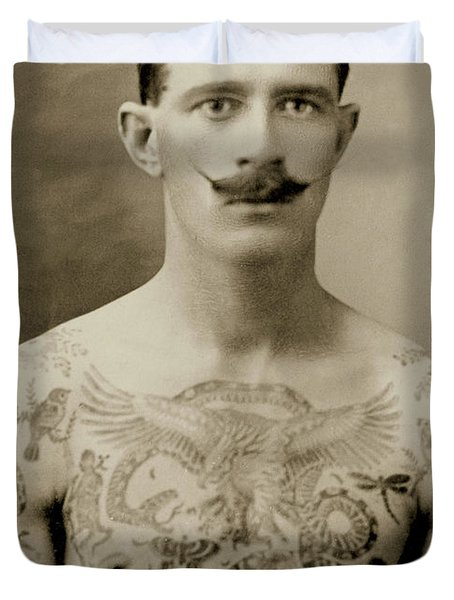 Tattooed British Sailor During The First World War Duvet Cover
