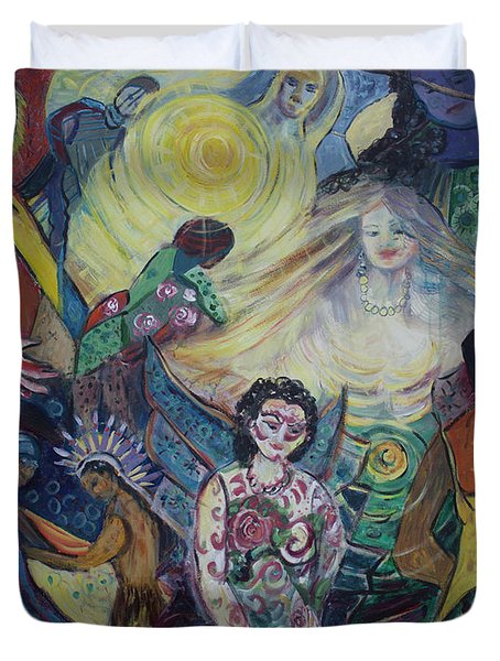Duvet Cover featuring the painting Tattooed Man  by Avonelle Kelsey
