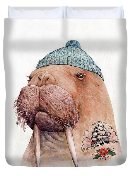 Tattooed Walrus Duvet Cover by Animal Crew
