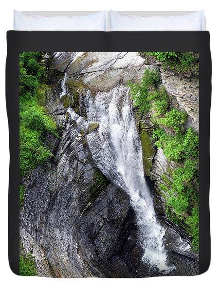 Taughannock Falls Upper Rim Trail Duvet Cover by Christina Rollo