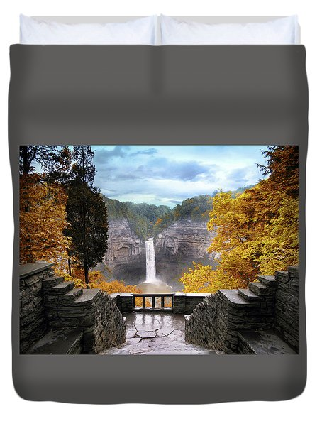 Taughannock In Autumn Duvet Cover by Jessica Jenney