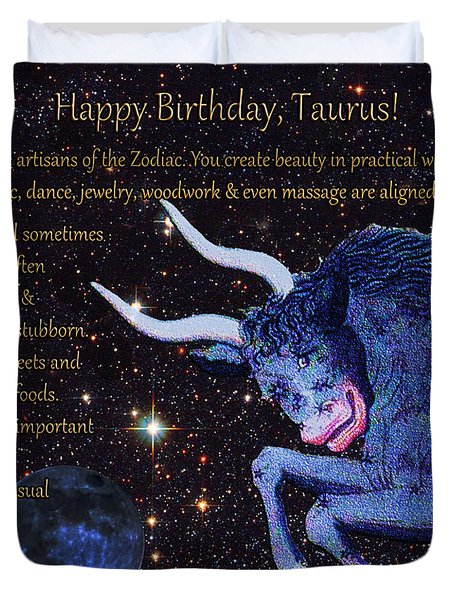 Taurus Birthday Zodiac Astrology Duvet Cover