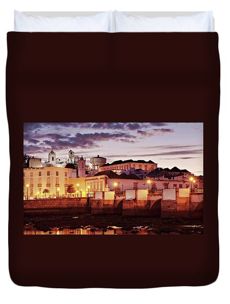 Duvet Cover featuring the photograph Tavira At Dusk - Portugal by Barry O Carroll