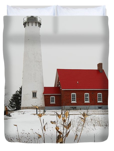 Tawas Point Lighthouse Duvet Cover by Michael Peychich